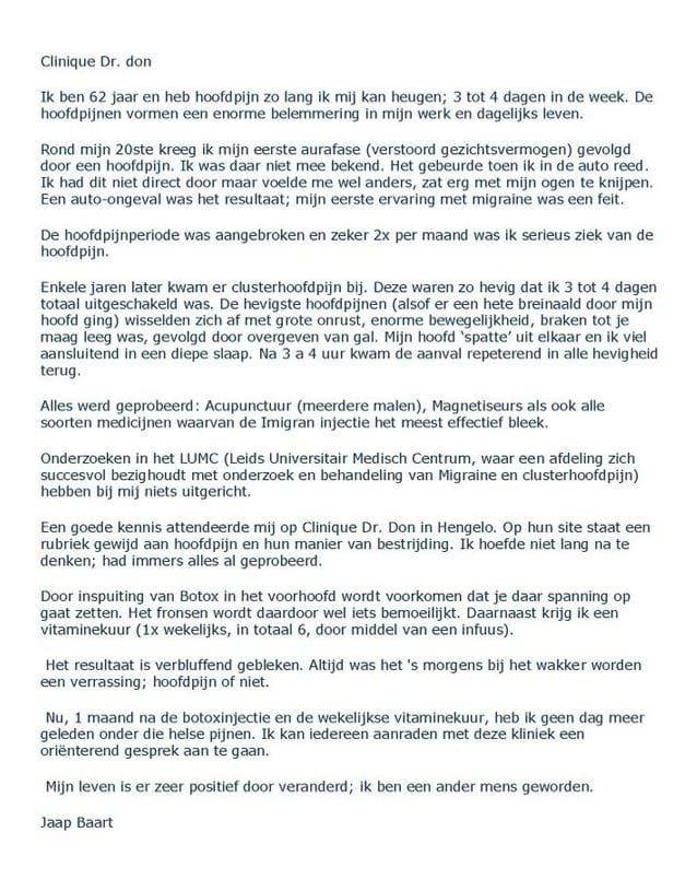 brief van Jaap aan Clinique Dr Don